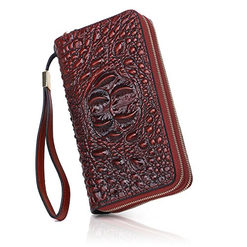 APHISONUK Krokodil-Geldbörsen Geprägtes Leder Continental Wallets Echtes Leder Clutch Wallet Wristlet (Doppel-Reißverschluss) (braun)