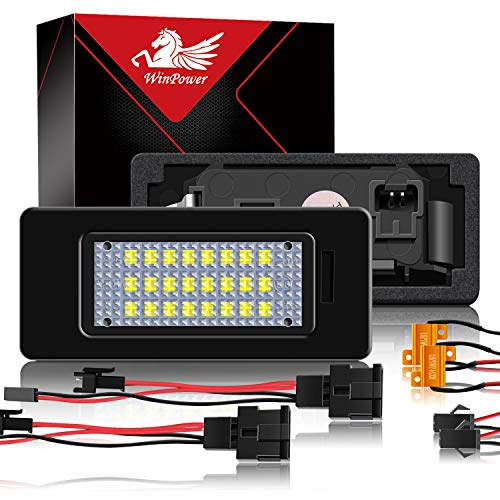 WinPower LED Kennzeichenbeleuchtung Glühbirnen Nummernschildbeleuchtung Lampe 3582 SMD mit CanBus Fehlerfrei 6000K Xenon kaltweiß zum A1/A3/A4/A5/A6/A7/Q3/Q5/TT usw, 2 Stücke