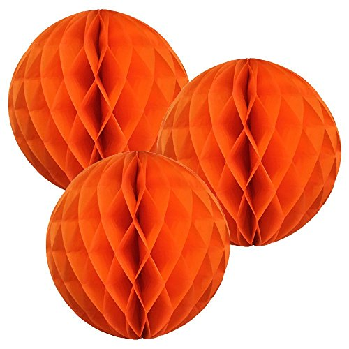 3cm/25,4cm/30,5cm Seidenpapier Pompons Honeycomb Ball Laterne Blume für Hochzeit Party Dekorationen, Papier, Orange, 20,32 cm (8 Zoll) (Alte Papier-halloween-dekoration)
