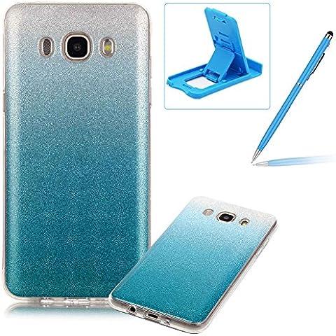 Samsung Galaxy J510(2016) Caja de goma de silicona resistente a los arañazos,Samsung Galaxy J510(2016) Ajuste perfecto La caja del gel de parachoques suave,Herzzer Luxury Elegante [Gradiente de color luz de las estrellas] Piel del arco iris del brillo de la jalea ligero flexible Gel Shell protector de la contraportada para Samsung Galaxy J510(2016) + 1 x Azul pata de cabra + 1 x Azul Lápiz óptico - Azul