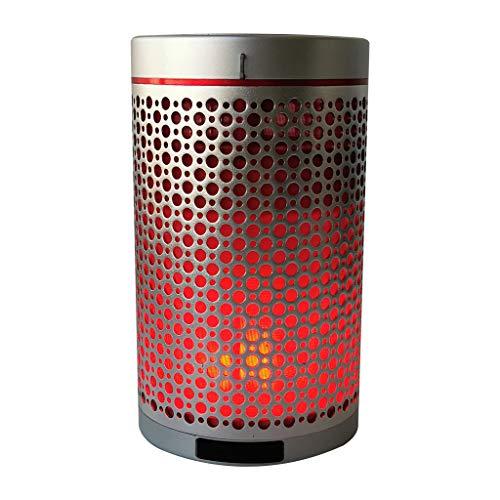 Foroner Tragbare drahtlose Flammenlautsprecher Lampe romantische Lautsprecher Sound Wave entfesseln Sie Ihre Musik (Silber)