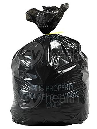 90L Black bag sack liner 300 bags Printed NHS Property Household Waste Only