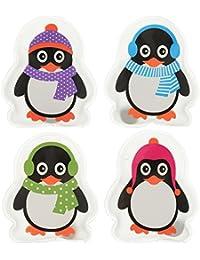Set de 4 calentadores de manos, diseño de pingüinos coloridos