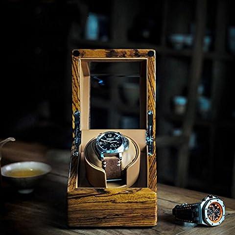 SZXC Birnen-Massivholz-Uhr-Wickler-Schüttel-Uhr-Kasten / mechanische Uhr-Kasten-automatische Uhr-Motor-Kasten 5 Dinds der Rotation-Prozeduren Handgemachte Produktion vervollkommnen für 1 Standort, hölzerne , zingana wood + brown leather high quality