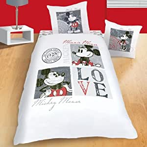 disney mickey love vintage 38443 parure housse de couette 140 x 200 cm taie d 39 oreiller 63 x 63. Black Bedroom Furniture Sets. Home Design Ideas