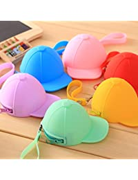PACK of 2 Random Silicone ( Baseball Cap) Style Bag Case Pouch For Earbuds Earphone Earphones MP3 , Nano Coins Memory Card Pouch Pendrive Jewllery Box Pouch Bag Case Wallet Pouch Mini Purse Accessories kit pouch box organizer gift for womens girls ladies gifts for womens girls Organisers (Random Colors)