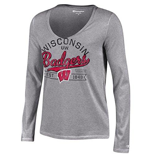 Life Womens Cap Sleeve T-shirt (Champion NCAA Damen Universität Lange Sleeve V-Neck T-Shirt, Damen, NCAA Women's University Long Sleeve V-Neck T-Shirt, grau, Large)