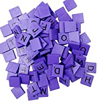 DOLDOA Sale for Kids Educational 100 Wooden Scrabble Tiles Black Letters Numbers For Crafts Wood Alphabets Toy Brick