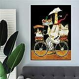 yhyxll Ristorante Wall Art Tela Pittura personalità Cuoco Pittura a Olio Fumetto panetteria Cucina Stampa Poster Foto 60x80cmx1