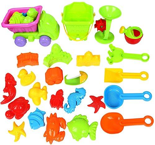 Preisvergleich Produktbild Yier Plastik Spiel Schloss Formen Sand Sand Spielzeug Sets Kinder Strand Spielzeug Sand Schaufel Rake für Kleinkinder BPA frei 28 Stück mit LKW, Gießkanne in Eimer