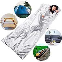 HOVNEE Saco de dormir de verano de microfibra,funda para la almohada,Sábanas interiores ultraligeros,Camping, excursiones, alpinismo,Fino, pequeño, compacto para viajes,Hombres, mujeres, niños