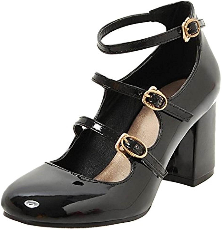 Coolcept Mujer Clasico Strappy Court Zapatos Tacon Ancho Alto Zapato Ladies Mary Janes Bombas Zapatos