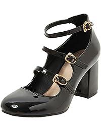 COOLCEPT Mujer Moda Ankle Strap Court Zapatos Tacon Ancho medio Bombas Zapato Cerrado Zapatos (34 EU, Blue)