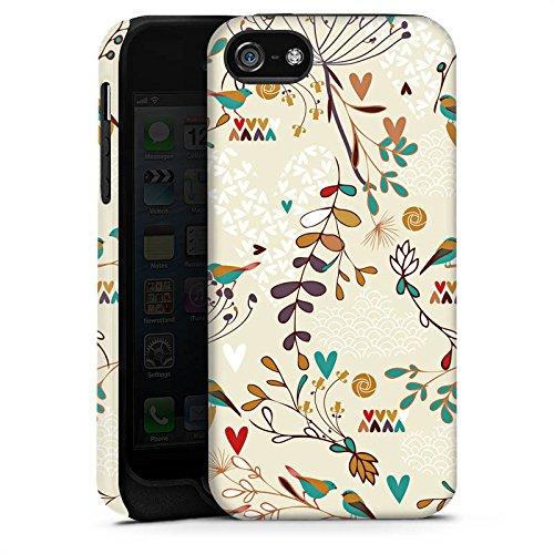 Apple iPhone 4 Housse Étui Silicone Coque Protection Fleur Rétro Oiseaux Cas Tough terne