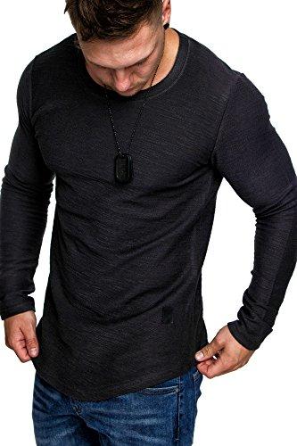 Amaci&Sons Oversize Vintage Herren Pullover Hoodie Sweatshirt Crew-Neck 6063 Anthrazit M