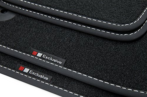 teileplus24 EF202 Fußmatten Gummimatten Exclusive-line Design Bandeinfassung Ziernähte, Naht:Silber