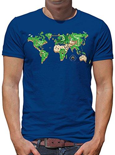 TLM Mario Weltkarte T-Shirt Herren XL Königsblau (Billig Gohan Kostüm)