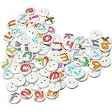 SODIAL (R) Lote de 100botones de madera con las letras del alfabeto, para scrapbooking