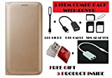 #8: Gionee M5 Lite Flip Cover Case With Free Led, Otg Cable, Card Reader, Sim Adapter and Earphone Splitter By Vinnx - Golden