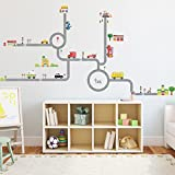 Decowall DW-1404S Straßen Transporte Autos Fahrzeuge Wandtattoo Wandsticker Wandaufkleber Wanddeko für Wohnzimmer Schlafzimmer Kinderzimmer (Mittlere)