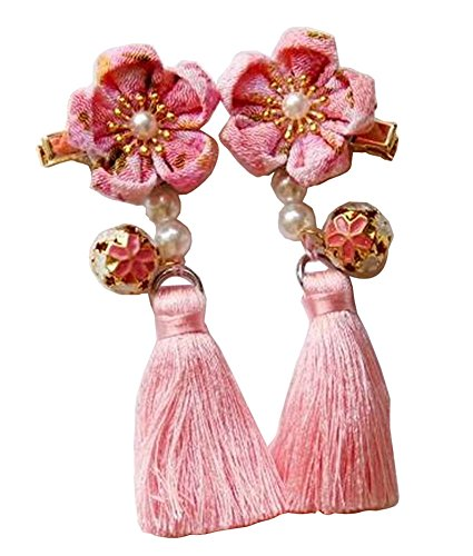 [Fleur rose] 1 paire de pinces à cheveux de style chinois filles glands