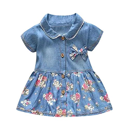 Muium Infant Baby Girls Floral Print Bowknot Short Sleeve Princess Denim Dress Outfits For 0-24 Months