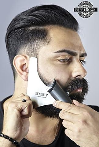 Gabarit premium en acier inoxydable pour la barbe | Styling pour la barbe Produit en Allemagne | rasage - modèle pour votre soin quotidien de la barbe | tondez, rasez e donnez-la simplement de style | pour une barbe exacte | contours parfaits | symétrie idéale | avec un vidéo d'application| #BEARD UP YOUR LIFE
