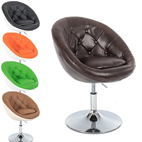 Lounge Sessel Gottfried - Cocktailsessel - Barstuhl - Retro Drehstuhl - Chesterfield Look - höhenverstellbar - in vielen Farben (Größe M: Braun - Melliert) (Leder-lounge-sessel Farbe)