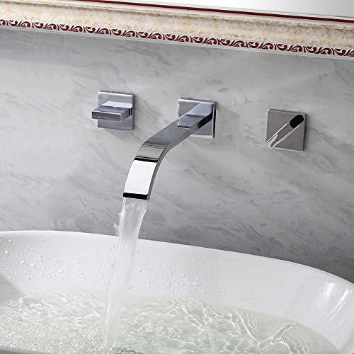 ETERNAL QUALITY Bad Waschbecken Wasserhahn Silber-Chrom-Warm- Und Kaltwassermischer Mit Zwei Handgriffen Zur Wandmontage - 2 Gpm Flow Control
