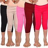 #4: Aloft Girls Muliticolor Plain Cotton Knee Length Leggings (Pack of -5pcs)