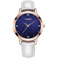 LONGBO Brand Fashion Starry Luxury Quartz Analog Waterproof Watch Stars Roman Brief Index Dial Genuine Strap Watch 5252