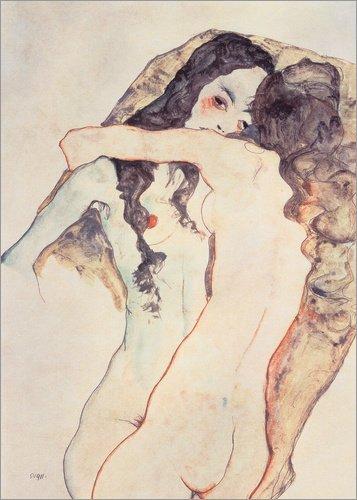Poster 30 x 40 cm: Zwei Frauen in Umarmung von Egon Schiele / ARTOTHEK - hochwertiger Kunstdruck, neues Kunstposter