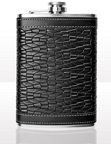Outdoor Saxx® - Edelstahl Flachmann, Leder Design Ripped