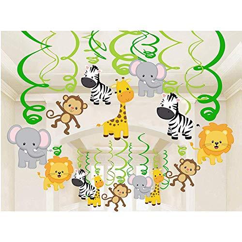 Sayala 30 STK.Hängedekoration -Dschungel Tiere Themen- Deckenhänger Spiral Girlanden Für Kinder Baby Dusche Geburtstag Party Kuchen Dekoration Supplies (Baby Geburtstag Party Thema)