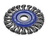 Osborn Rundbürste für Winkelschleifer 115 mm, Durchmesser 115 x 12 mm, Bohrung 22,2 mm, gezopfter Stahldraht 0,50 mm TÜV geprüft, blau, 2631151