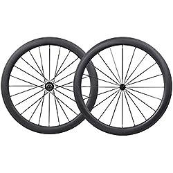 IMUST 700C Aero Carbono Carretera Bicicleta Rueda Clincher Tubuless Ready 50mm Profundidad 25mm Anchura Novatec Hubs