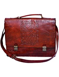 Craft Play Handicraft Brown Color Leather Laptop Bag