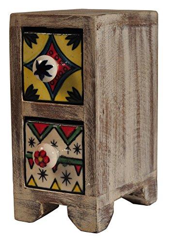 Alterras - Dekorations-Objekt: Schubkästchen Regal 2-fach weiß (HxBxT: 19cmx75mmx14cm) (Holz Gewürz-fach)