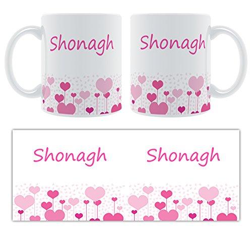 shonagh – Motif cœurs – Femelle Nom personnalisable Mug en céramique