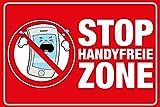 Warnschild HANDYFREIE ZONE im Comicstil 20 x 30 cm | Hinweisschild aus Alu hier kein Handy / Smartphone | für Innen- und Außenbereich Mobilfunk verboten
