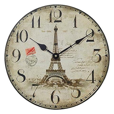 NIKKY HOME Runde Wanduhr Paris Tour E Konservierungs El 1887