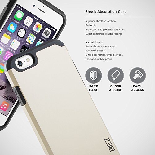 iPhone 6S Hülle, iPhone 6 Hülle, BEZ® Stoßfestes Etui, [Heavy Duty Serie] Outdoor Dual Layer Armor Case Handy Schutzhülle [Shockproof] robuste Hülle für iPhone 6 und iPhone 6S - Orange Gold