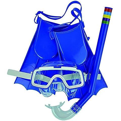 Jilong 290551–Set combo Baby Máscara Snorkel y aletas, Azul