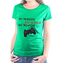 Mister Merchandise Camiseta para Mujer T-Shirt MY Mission Save The World Gamepad , Ladies Tee Tamaño: XL, Color: Verde