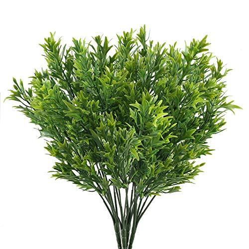 nahuaa 4 pezzi piante artificiali da esterno interno verde foglia di crisantemo arbusti bouquet finte piante di plastica primavera estate decorazioni per cimitero balconi finestra fioriera vaso