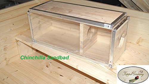 Massives Chinchilla Sandbad Badehaus Chinchi aus Kiefer Massivholz Made in Germany von KÄPPEL-Germany 50x20x20cm