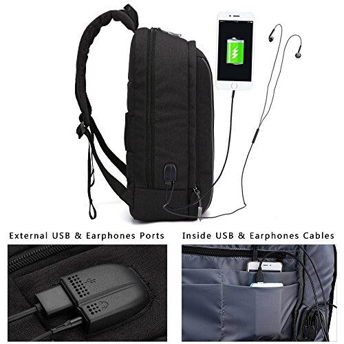 Imagen de xqxa business  para portátil, impermeable casual backpack los con usb puerto de carga,se adapta a hasta 17