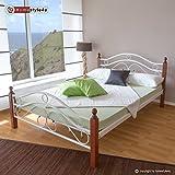 Homestyle4u Metallbett 180 x 200 Bettgestell Doppelbett Bettrahmen + Lattenrost 803 weiß
