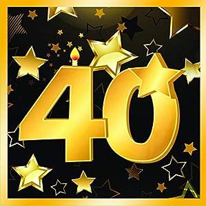 "Forum Novelties-40th Birthday Napkins 13"" (16 in pkt) Servilletas, Color black, gold (X81898)"