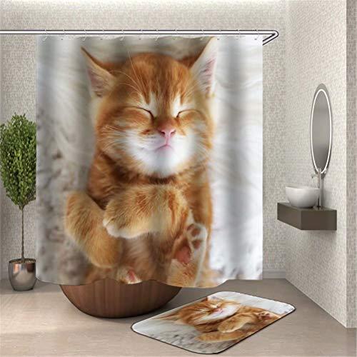SLN Die Braune Katze Liegt Im Bett Und Schläft. Duschvorhang 180X180Cm Wasserdicht Und Schimmelbeständig. Bodenmatte 40X60Cm Plus Samtüberzug. (Braune Katze Bett)